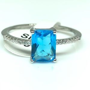 Sterling Silver Blue Rectangle CZ Ring